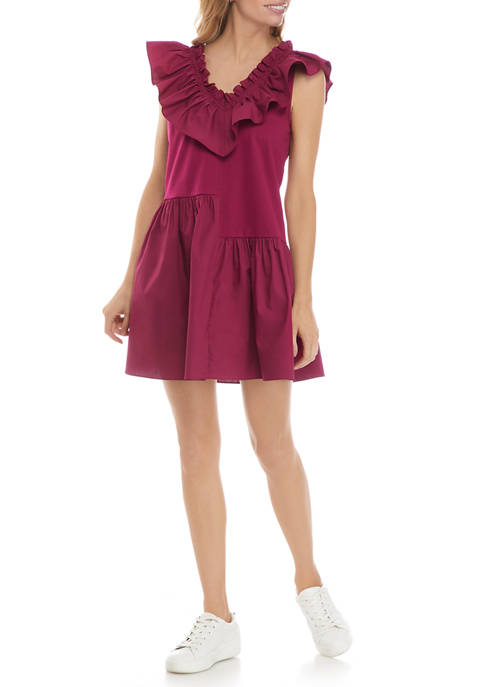Womens Mixed Media Ruffle Dress