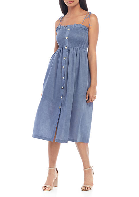 Smocked Button Front Chambray Dress