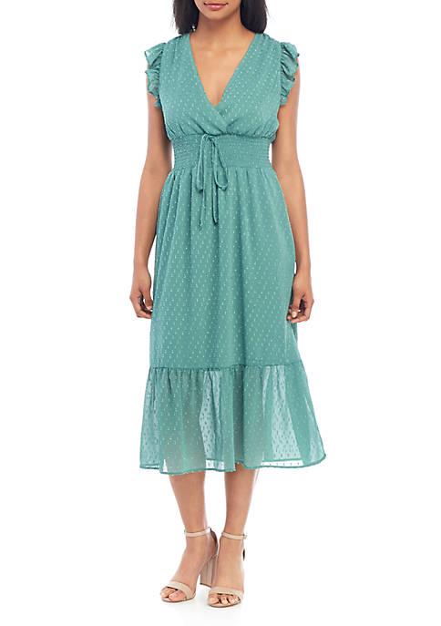 Ruffle Sleeve Smock Midi Dress