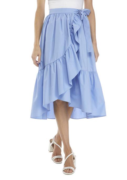 Womens Wrap Skirt with Ruffled Trim