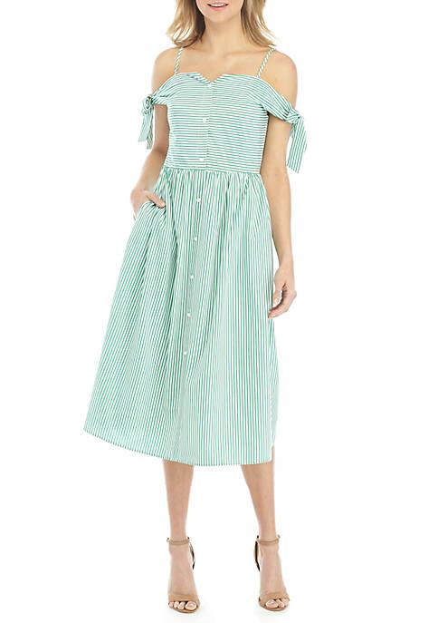 ENGLISH FACTORY Striped Midi Dress