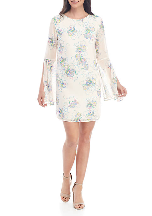 ENGLISH FACTORY Paisley Prism Long Sleeve Dress