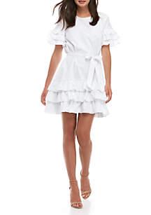 ENGLISH FACTORY Short Sleeve Ruffle Tie Waist Dress