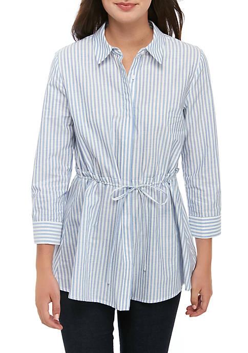 ENGLISH FACTORY Stripe Shirt with Tie Waist