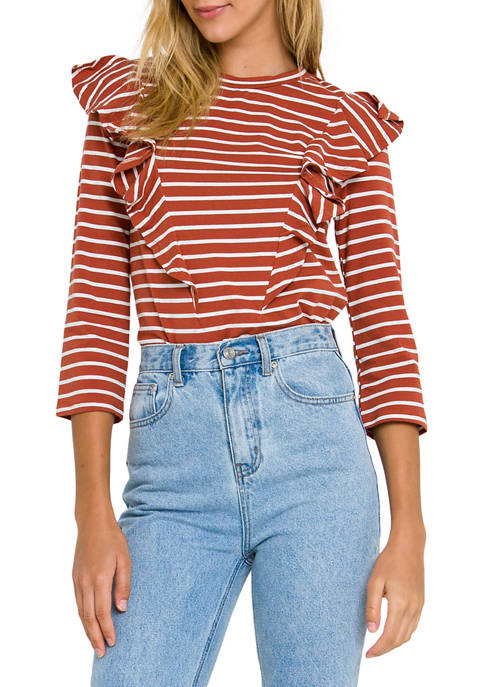Womens Striped Blouse with Ruffled Accents