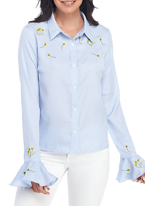 ENGLISH FACTORY Long Sleeve Embroidery Shirt