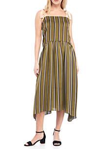 Tie Strap Striped Shirred Dress