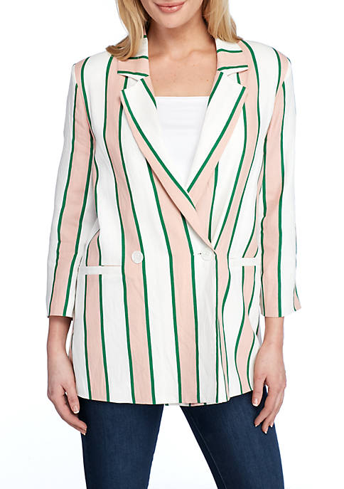 Long Sleeve Double Breasted Striped Blazer