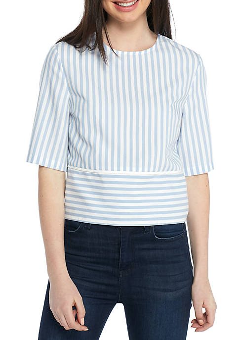 ENGLISH FACTORY Short Sleeve Striped Top