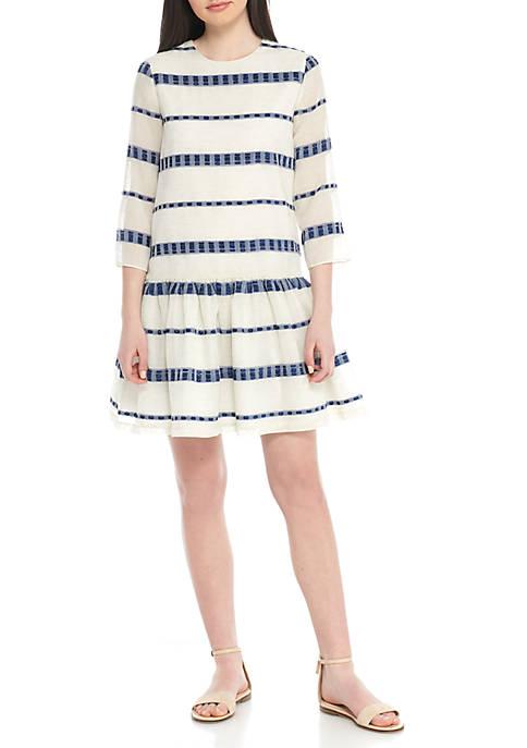 Three-Quarter Sleeve Drop Waist Textured Dress
