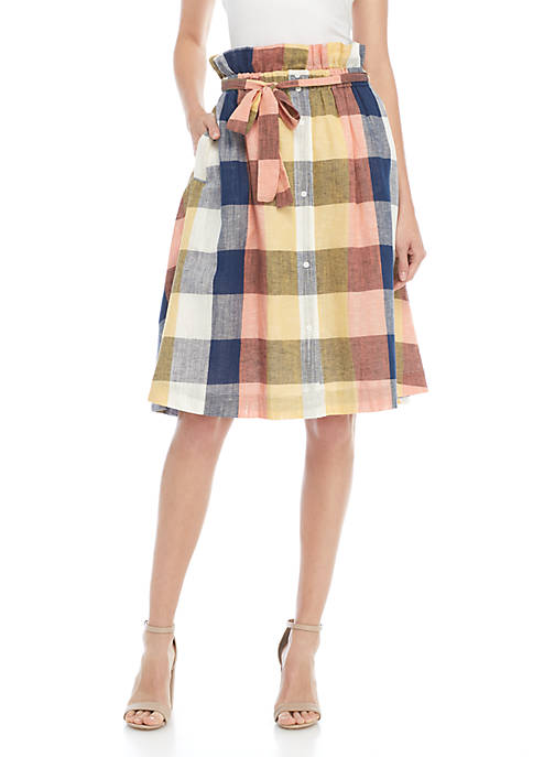 ENGLISH FACTORY Button Front Plaid Midi Skirt