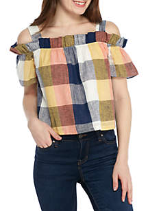 Ruffle Cold Shoulder Plaid Top