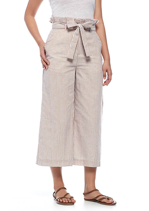 ENGLISH FACTORY Paper Bag Waist Striped Cropped Pants