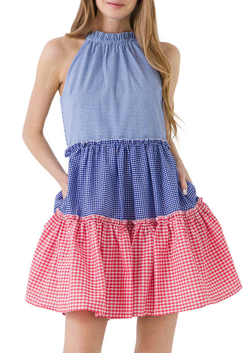 ENGLISH FACTORY Womens Sleeveless Gingham Check Color Block