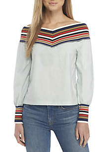 Stripe Band Off-The-Shoulder Blouse