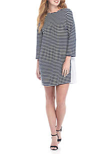 Stripe Dress with Pleated Back