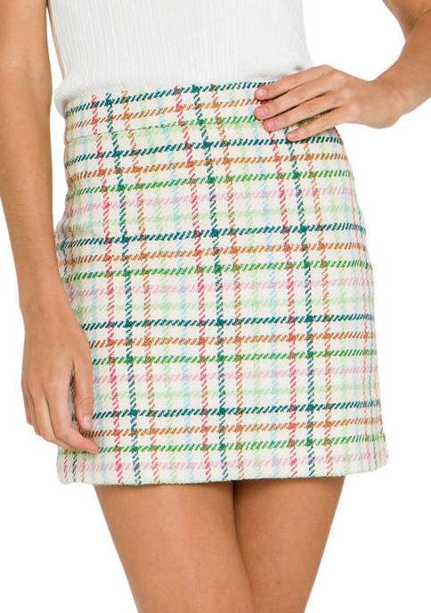 ENGLISH FACTORY Womens Checkered Mini Skirt