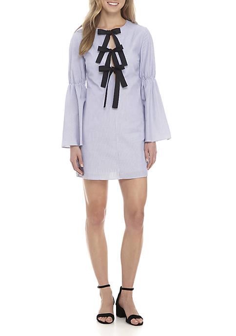 ENGLISH FACTORY Rib Knit Dress With Shirred Sleeves