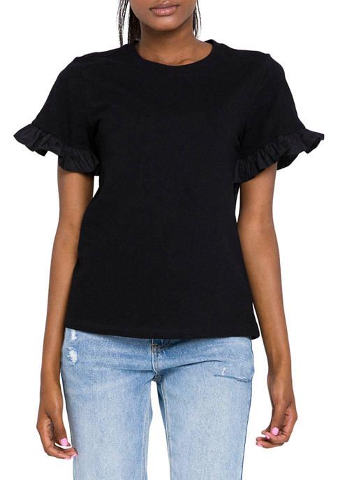 Womens Ruffle Sleeve Cotton Top
