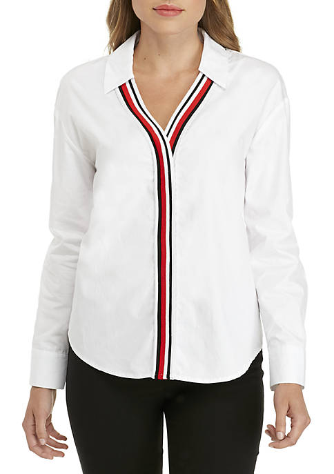 ENGLISH FACTORY Poplin Blouse with Stripe Ribbed Placket