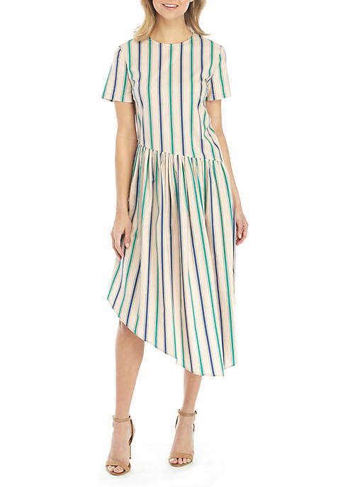 ENGLISH FACTORY Short Sleeve Asymmetric Stripe Dress