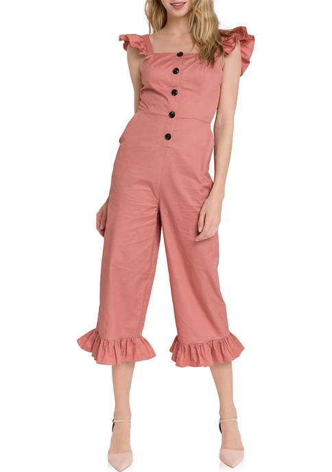 Ruffled Sleeve Button Down Jumpsuit