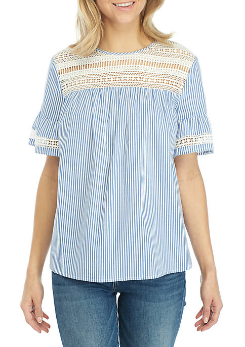 ENGLISH FACTORY Short Sleeve Stripe Lace Inset Top