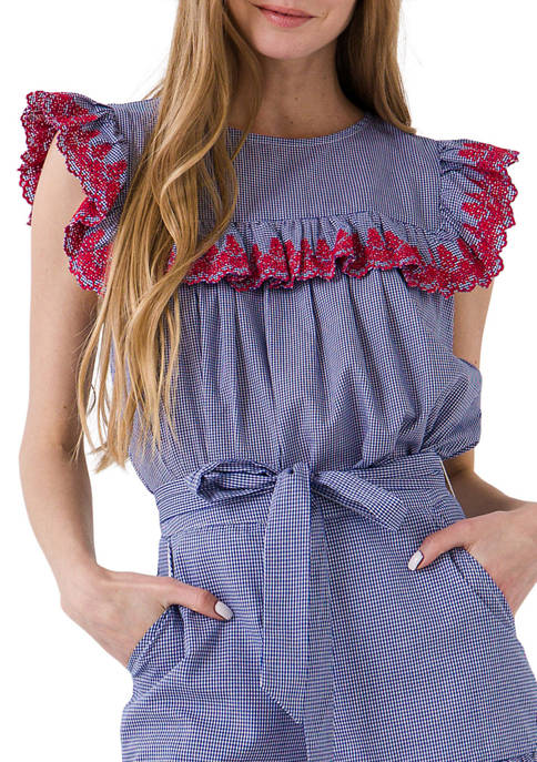 Embroidered Ruffle Woven Top