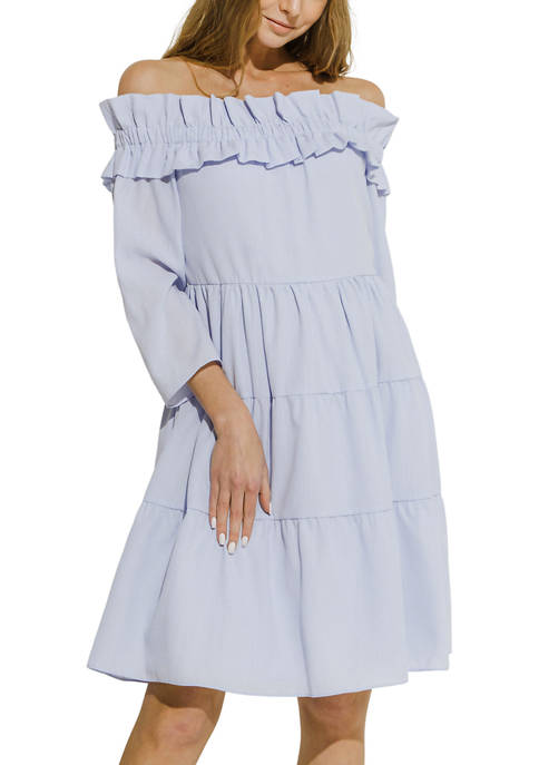 ENGLISH FACTORY Off The Shoulder Striped Dress