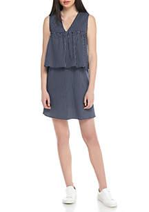 Sleeveless Stripe Tier Dress