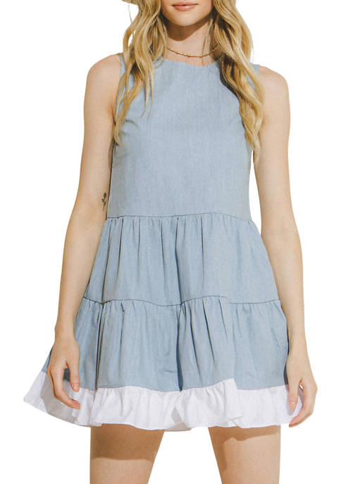 Womens Sleeveless Tiered Babydoll Dress