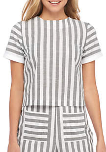 Tie Back Short Sleeve Striped Top