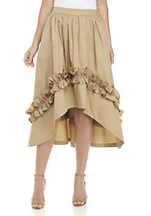 Asymmetrical Skirt with Shirred Ruffle