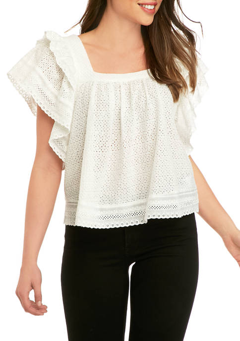 Womens Square Neck Eyelet Top