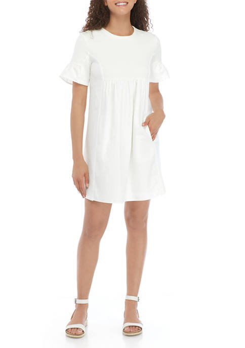 Knit/Woven Ruffle Sleeve Dress