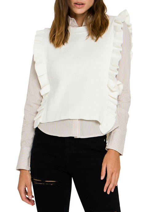 ENGLISH FACTORY Womens Poplin Shirt with Detachable Knit