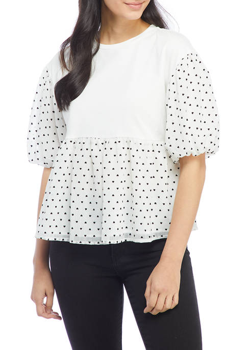 ENGLISH FACTORY Womens Heart Dotted Puff Sleeve Knit