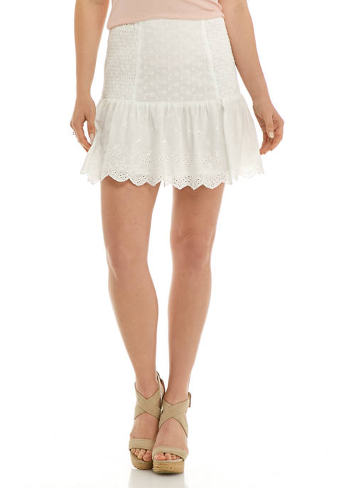 Free The Roses Womens Eyelet Side Smocked Skirt