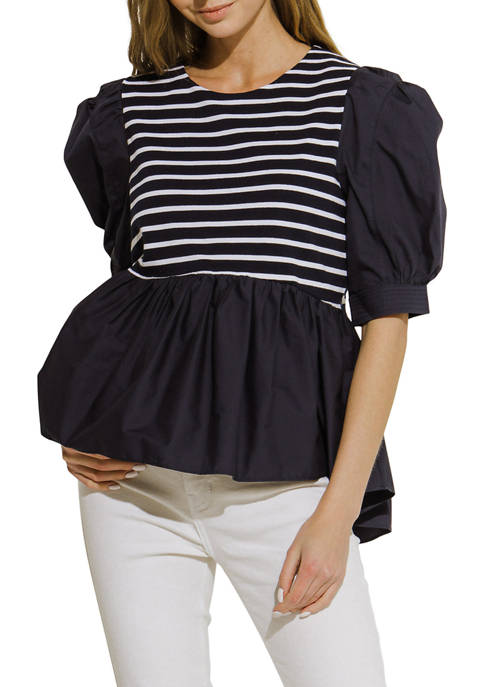 Striped Knit Combo Top
