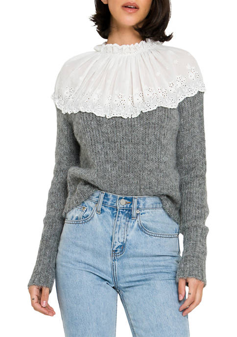 ENGLISH FACTORY Womens Eyelet Combo Sweater