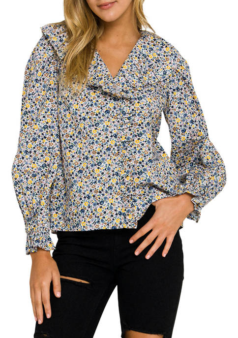 ENGLISH FACTORY Womens Floral Print Long Sleeve Blouse