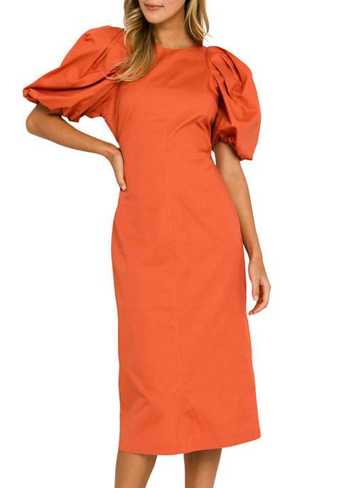 ENGLISH FACTORY Womens Pleated Puff Sleeve Maxi Dress