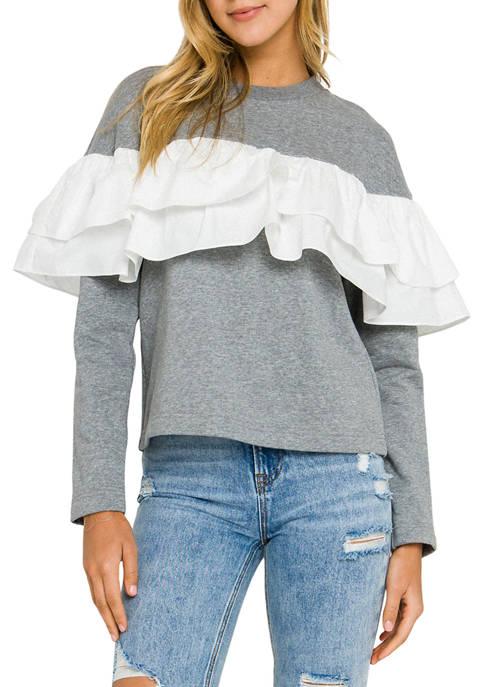 Womens Ruffle Detail Sweatshirt
