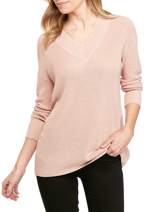 Petite Double V-Neck Ribbed Sweater