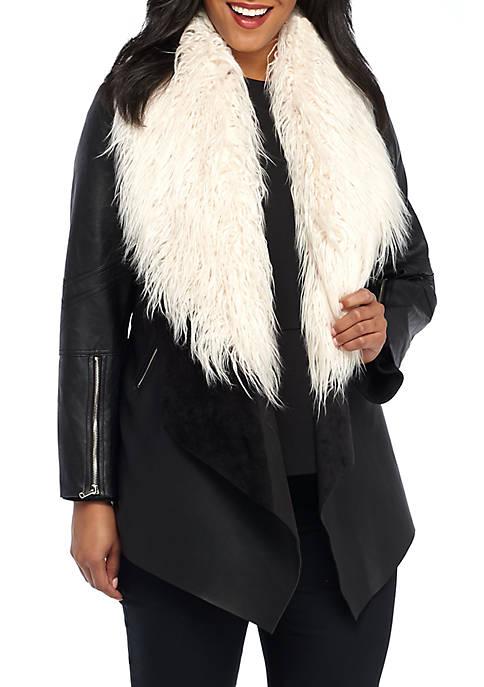 Plus Size Faux Leather Faux Fur Collar Jacket