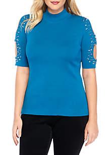Plus Size Open Sleeve Rib Mock Neck Embellished Top