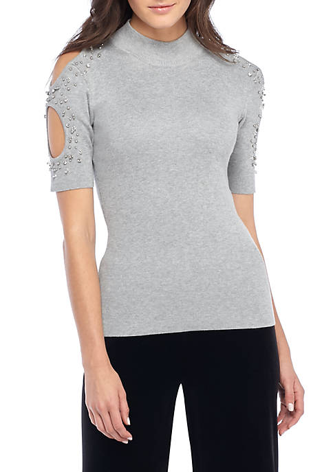 Open Sleeve Ribbed Embellished Top