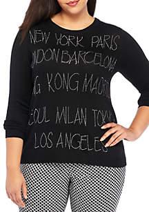 Plus Size Long Sleeve Crew Neck City Name Sweater
