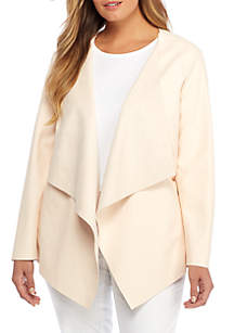 Plus Size Open Drape Front Faux Leather Jacket