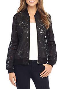 Zip Lace Bomber Jacket